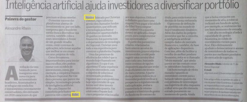 ROBOBANKER no jornal Valor Econômico!